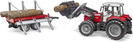 Jucarie Tractor Massey Ferguson, cu incarcator frontal si remorca pentru lemne - 37.5 x 15.5 x 17 cm3