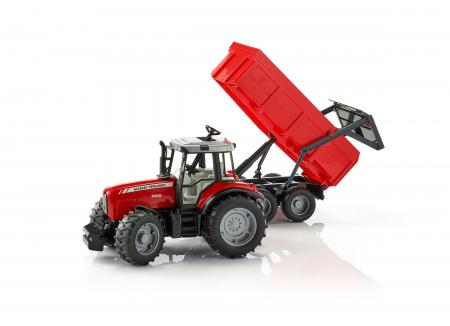 Jucarie Tractor Massey Ferguson cu remorca basculabila - 67 x 16.5 x 17.5 cm0