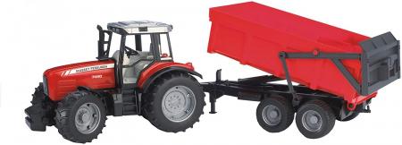 Jucarie Tractor Massey Ferguson cu remorca basculabila - 67 x 16.5 x 17.5 cm5