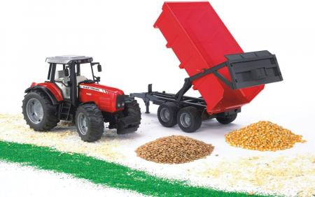 Jucarie Tractor Massey Ferguson cu remorca basculabila - 67 x 16.5 x 17.5 cm4