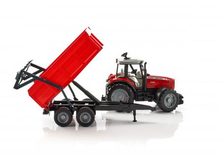Jucarie Tractor Massey Ferguson cu remorca basculabila - 67 x 16.5 x 17.5 cm2
