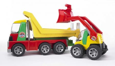 Jucarie Roadmax 2+ , Camion transportor cu mini excavator.  42 x 18 x 23.5 cm0