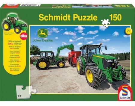 Puzzle tractoare John Deere seria M. Schmidt Puzzle + Jucarie tractor inclusa - 36,1 x 24,3 cm1