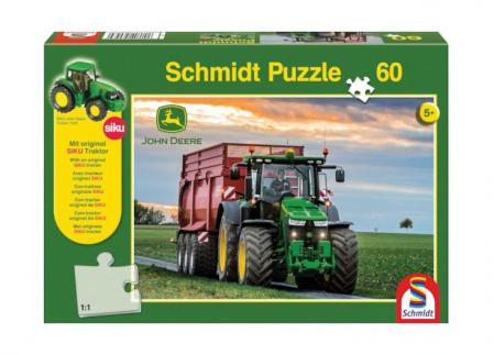 Puzzle tractor John Deere 83707R + Jucarie tractor cadou - 36,10 x 24,3 cm0