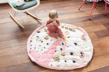Saltea de joaca bebe 3 in 1 Play&Go cu print Paun colorat0