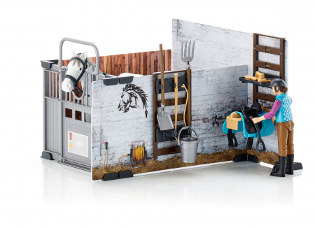 Set bworld hambar cai + accesorii - lungime figurina cal 17 cm, inaltime calaret 10,7 cm1