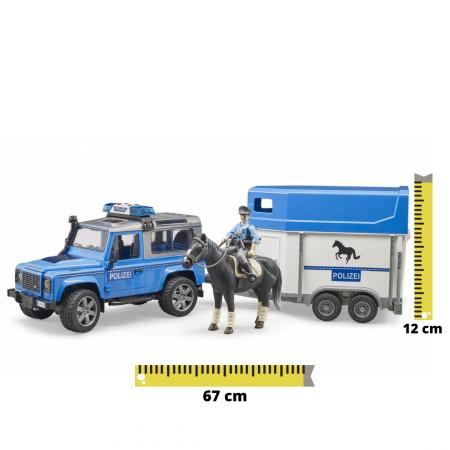 Set jucarie Land Rover Defender masina de politie cu trailer pentru cai, cal si figurina politist cu accesorii [0]
