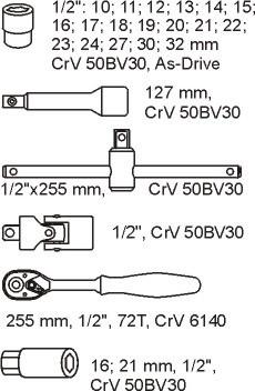 Modul chei tubulare cu clichet 1