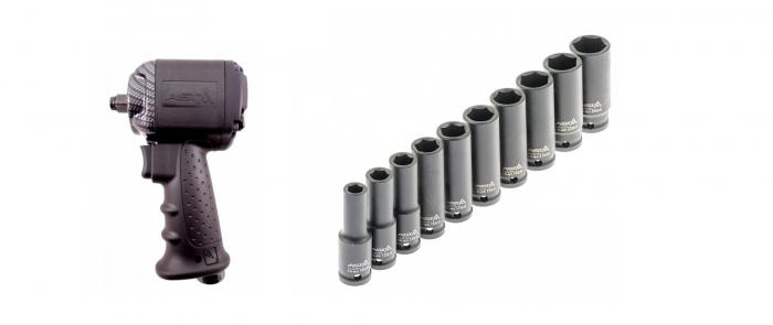Pachet pistol pneumatic cu cap scurt 850Nm + Set tubulare impact lungi 10 piese 1/2 0
