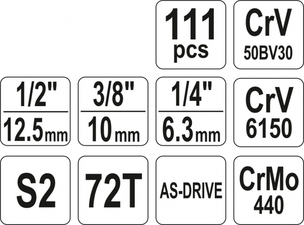Trusa tubulare si chei combinate 1/4 3/8 1/2 111 piese 3
