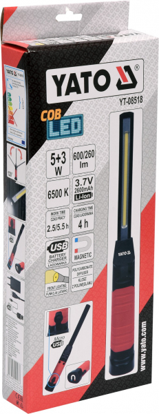Lanterna LED cu acumulator/USB 5+3W 600/260LM 4