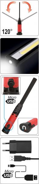 Lanterna LED cu acumulator/USB 5+3W 600/260LM 5