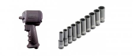 Pachet pistol pneumatic cu cap scurt 850Nm + Set tubulare impact lungi 10 piese 1/20