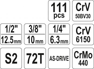 Trusa tubulare si chei combinate 1/4 3/8 1/2 111 piese3
