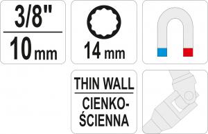 """Cheie articulata pentru bujii 3/8"""" 14mm 12 laturi [3]"""