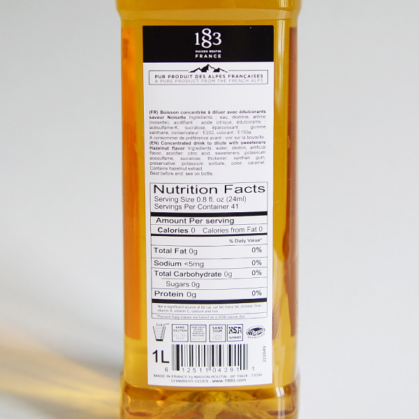 Alune de padure, Sugar Free, Sirop 1883 Maison Routin, 1L 2