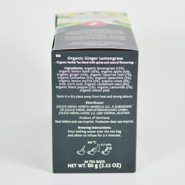 Ginger Lemongrass, ceai organic Julius Meinl, Big Bags 1