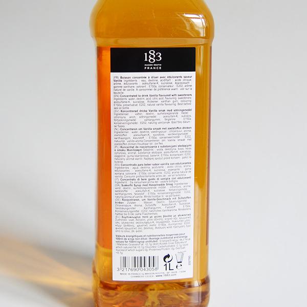 Vanilie, Sugar Free, Sirop 1883 Maison Routin, 1L 2