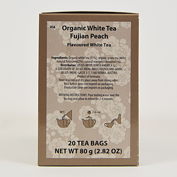 White Tea Fujian Peach, ceai organic Julius Meinl, Big Bags 1