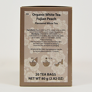White Tea Fujian Peach, ceai organic Julius Meinl, Big Bags1
