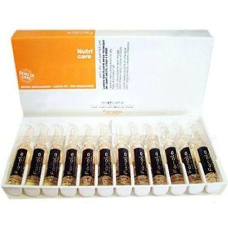 Fiole tratament fara clatire pentru par uscat si degradat Fanola Nutri Care, 12 x 12 ml 0