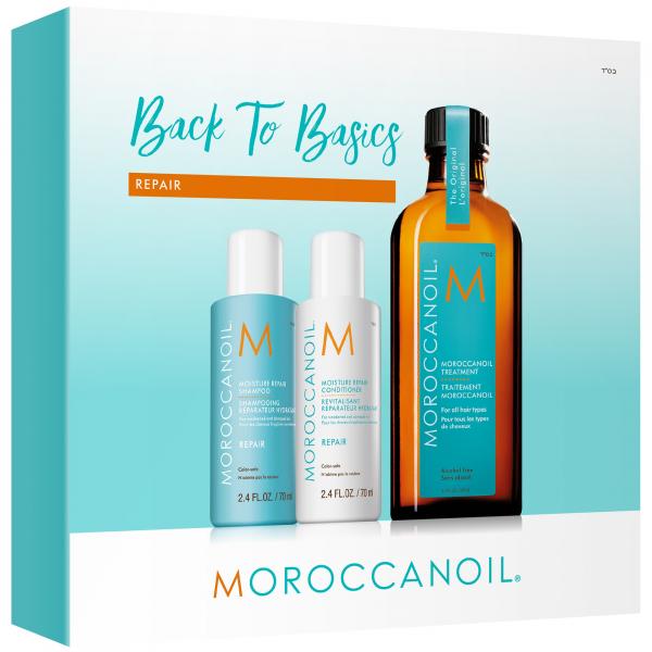Moroccanoil Back to Basics Repair, set cadou pentru par degradat, Sampon 70 ml + Balsam 70 ml + Ulei tratament Original 100 ml 0