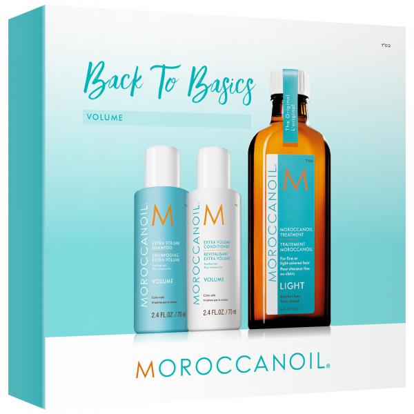 Moroccanoil Back to Basics Volume, set cadou pentru par cu fir subtire/fara volum, Sampon 70 ml + Balsam 70 ml + Ulei tratament Light 100 ml 0