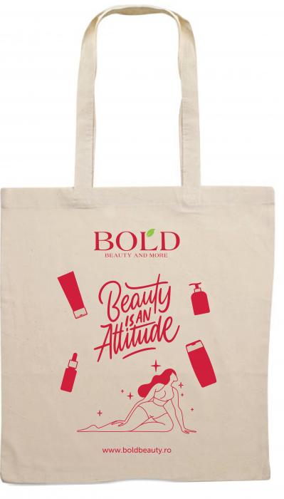 """Sacosa personalizata cu manere lungi, Bold Beauty, """"Beauty is an Attitude"""" [0]"""