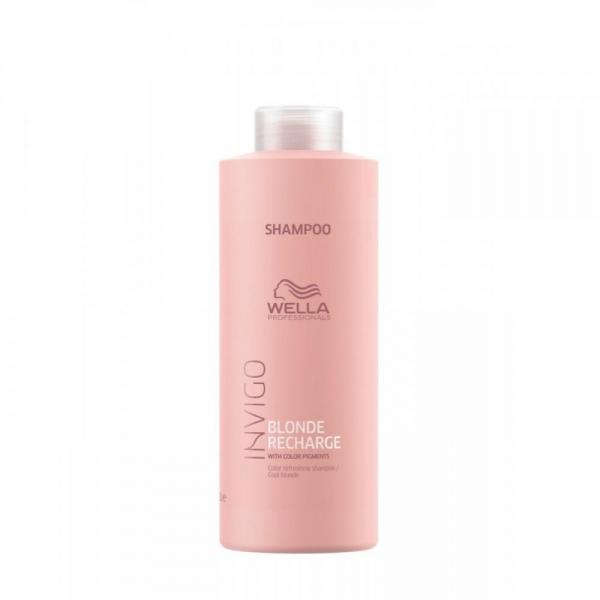 Sampon pentru pastrarea culorii pentru par vopsit blond rece Wella Professionals Invigo Recharge Cool Blonde, 1000 ml 0