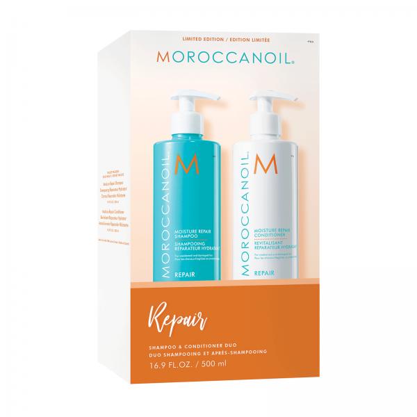 Set cadou pentru par degradat Sampon + Balsam Moroccanoil Duo Box Repair, 500 ml + 500 ml 0