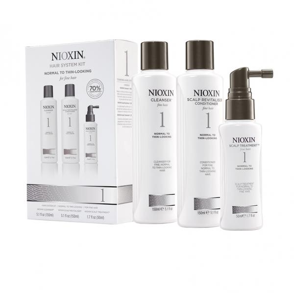 Maxi set impotriva caderii parului Nioxin System 1, 300+300+100ml 0