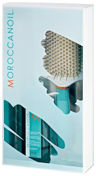 Set Promo Moroccanoil, Ulei Tratament Light pentru par deschis sau cu fir subtire 100 ml + Perie Paddle 0