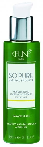 Tratament hidratant de noapte fara clatire pentru par deteriorat Keune So Pure Moisturizing, 150ml 0