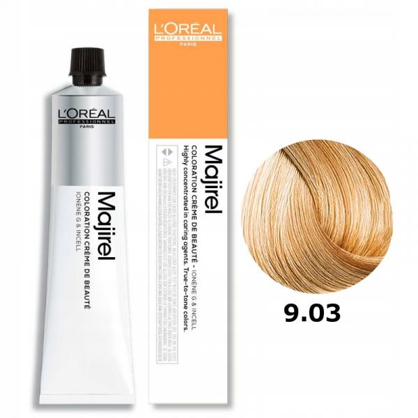 Vopsea de par permanenta L`Oreal Professionnel Majirel 9.03, Blond f. deschis nat. auriu, 50 ml [0]