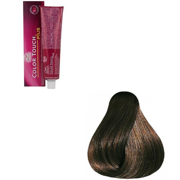 Vopsea de par semi-permanenta Wella Professionals Color Touch Plus 55/07, Castaniu Deschis Intens Natural Castaniu, 60 ml 0