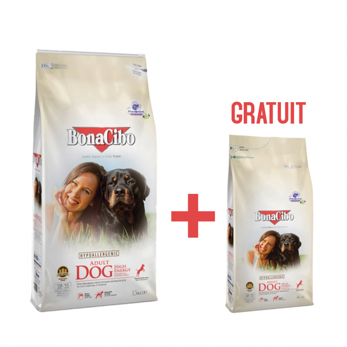 15 Kg + 4 Kg Gratis BonaCibo Adult High Energy 0