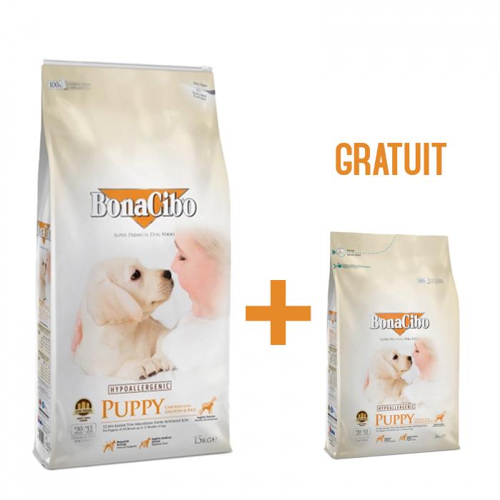 15 Kg + 3 Kg Gratis BonaCibo Puppy Chicken&Rice with Anchovy 0