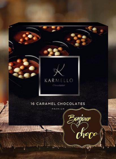 Asortiment premium 16 bomboane de ciocolată cu caramel