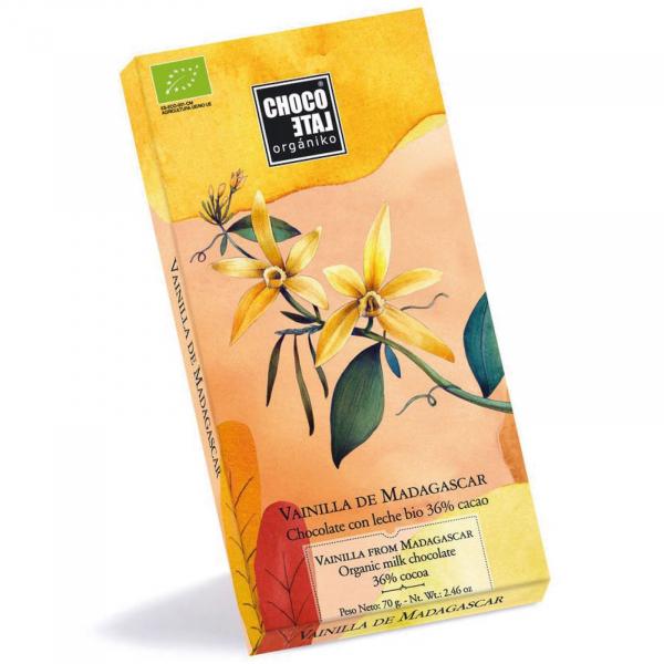 Ciocolata cu lapte organica 36% cacao cu vanilie de Madagascar 70G [0]