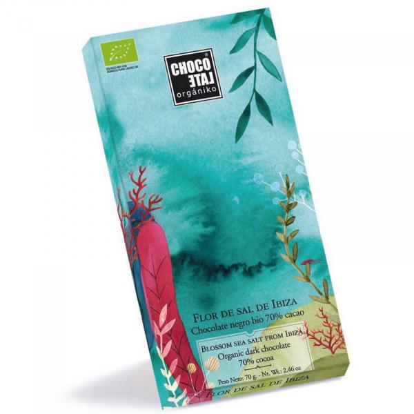 Ciocolata neagra organica 70% cacao cu Sal de Ibiza 70G [0]