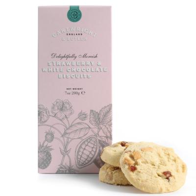 Biscuiti cu ciocolata alba si capsuni in cutie carton 200G [1]