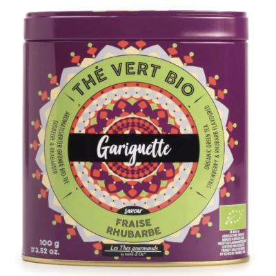 Ceai verde organic Gariguette cu capsuni si rubarba 100G [0]