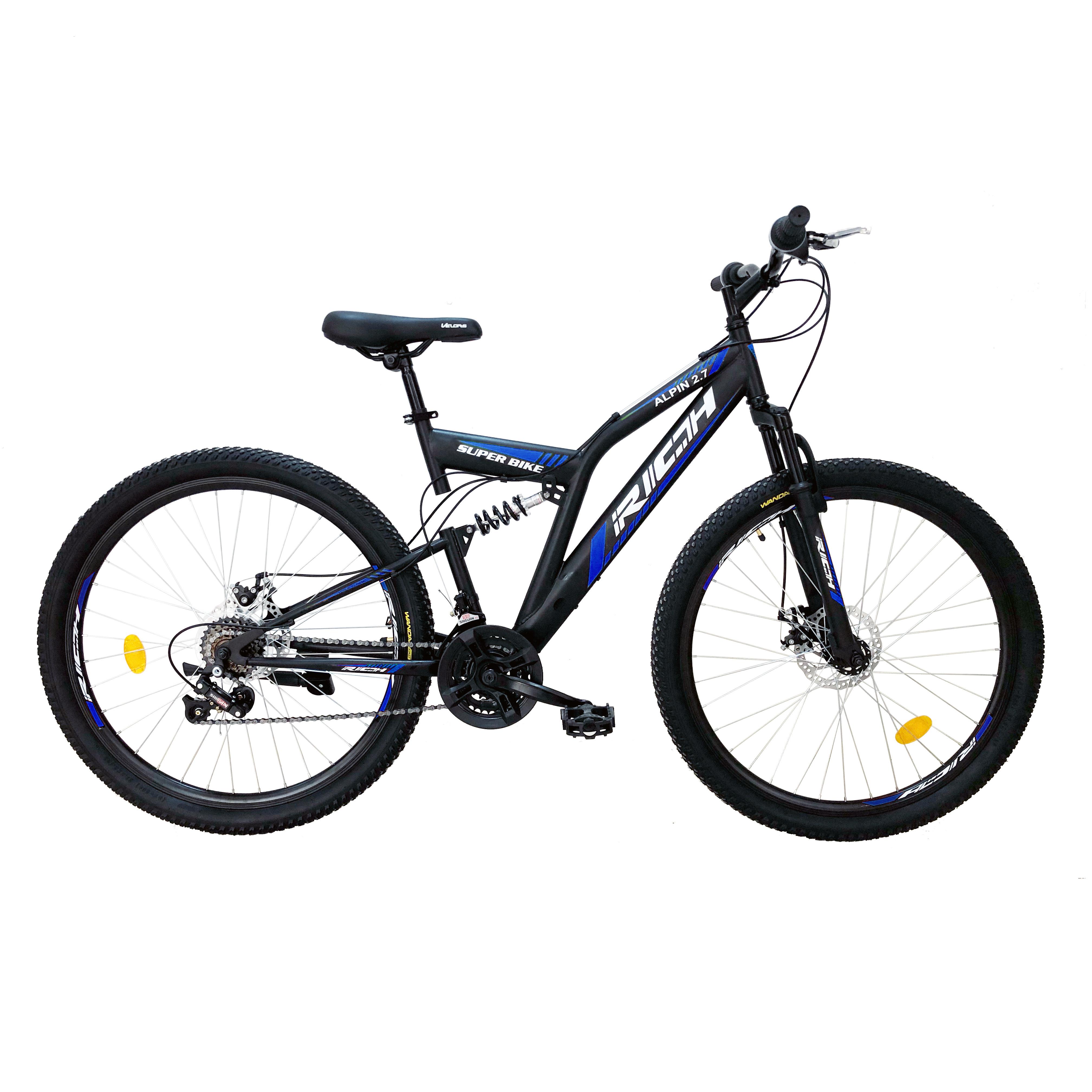 """Bicicleta munte, dubla suspensie, RICH R2750D, roata 27.5"""", frana disc, 18 viteze, negru/albastru 0"""