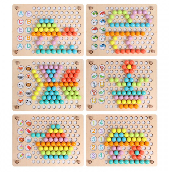 Joc Din Lemn 3 In 1 Mozaic, Memorie Si Dexteritate Pearl Fishing Memory Chess, 3 ani+ 6