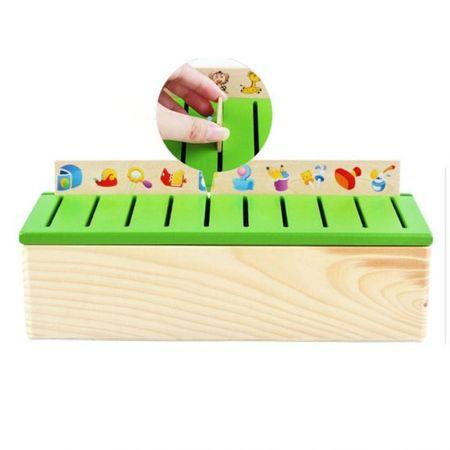 Joc interactiv și educativ de tip Montessori de asociere și sortare cu 88 piese, sortator din lemn 1