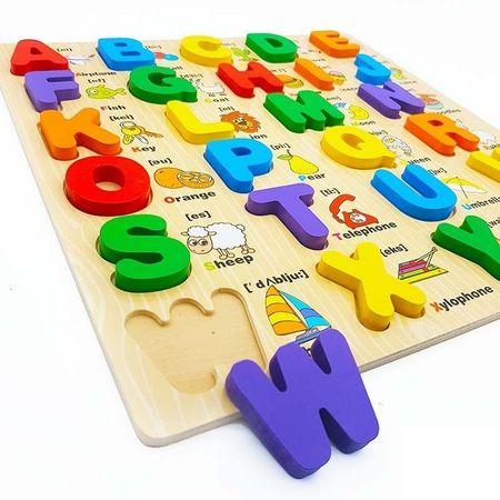 Puzzle lemn 3D Alfabetul cu litere mari și imagini [1]