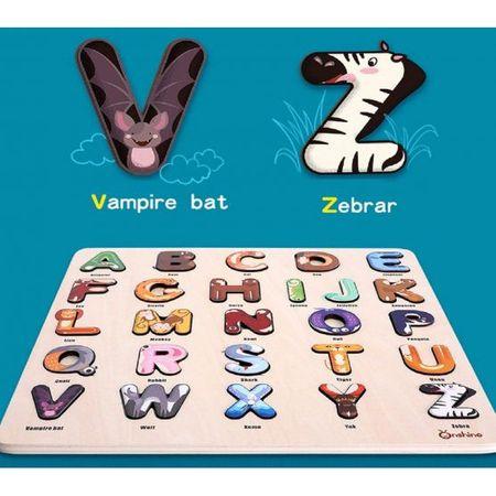 Puzzle lemn cu litere Alfabetul Junglei Onshine, 3 ani+ 1