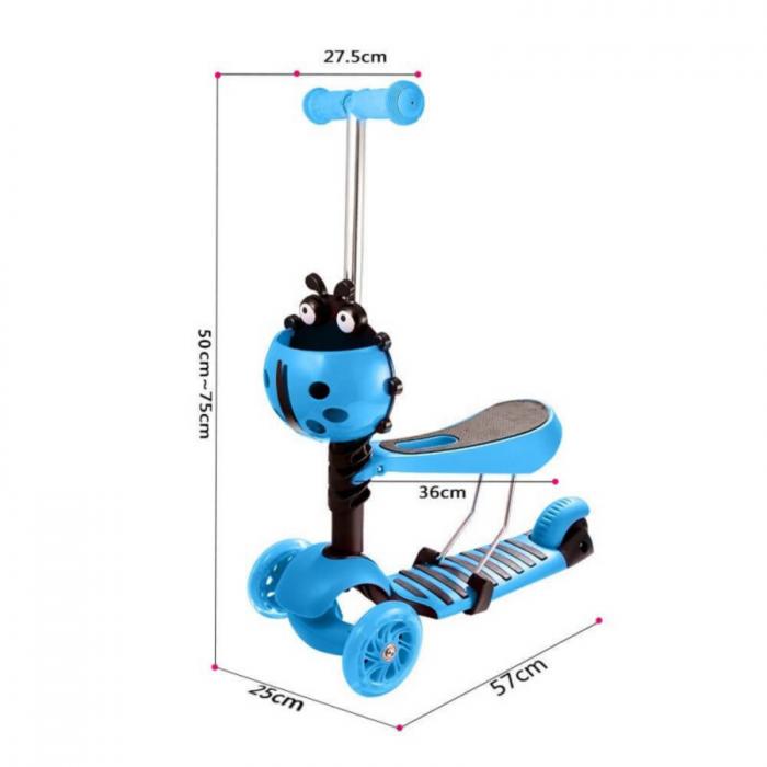 Trotineta evolutiva Scooter 3 in 1 cu lumini LED pentru copii - 4 culori disponibile 1