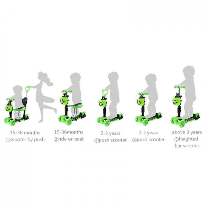 Trotineta evolutiva Scooter 5 in 1 pentru copii (4 culori disponibile) [2]