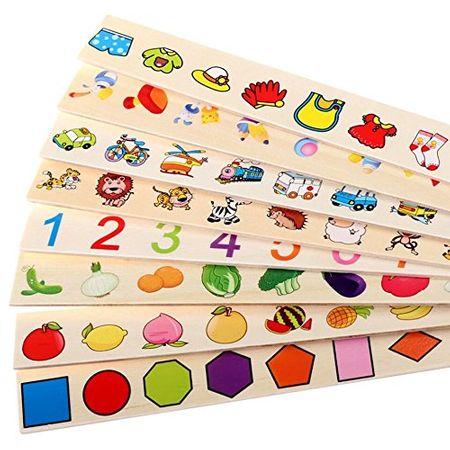 Joc interactiv și educativ de tip Montessori de asociere și sortare cu 88 piese, sortator din lemn 2